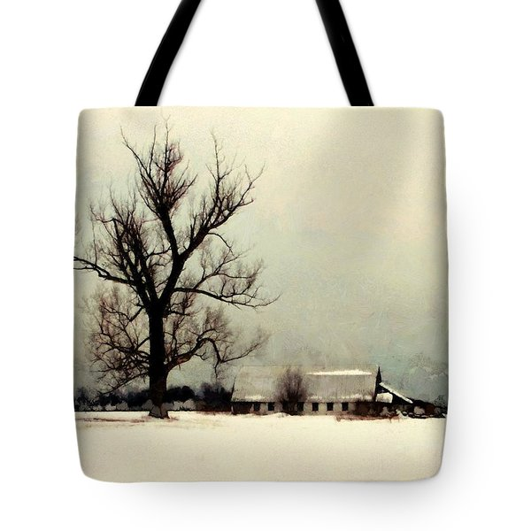 Tote Bag featuring the photograph Far From Home - Winter Barn by Janine Riley
