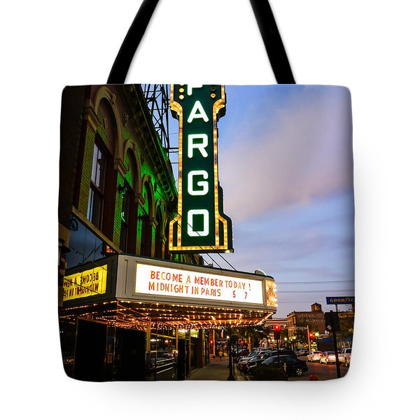 Fargo Theater And Downtown Along Broadway Drive Tote Bag by Paul Velgos