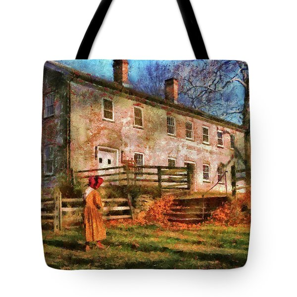 Farm - Farmer - There Was An Old Lady Tote Bag by Mike Savad