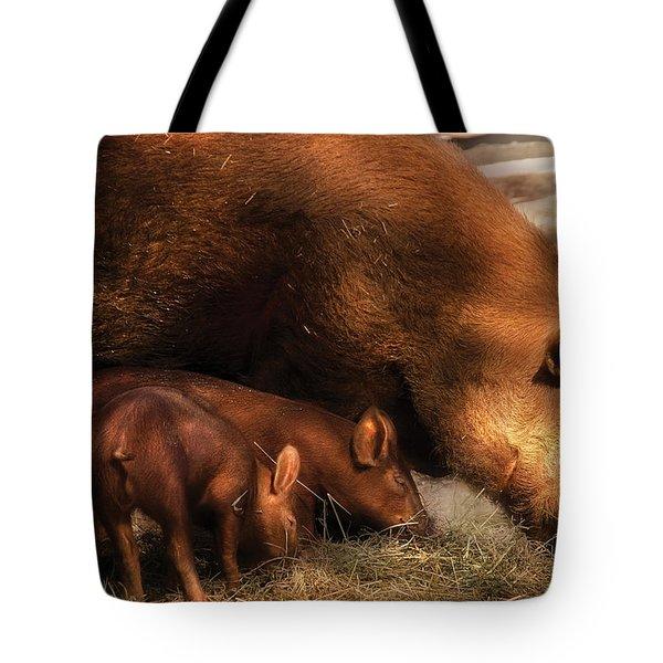 Farm - Pig - Family Bonds Tote Bag by Mike Savad