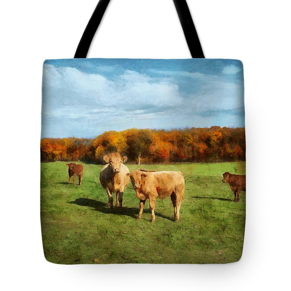 Farm Field And Brown Cows Tote Bag