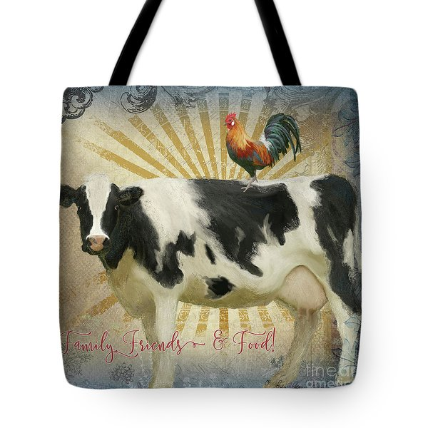 Tote Bag featuring the painting Farm Fresh Barnyard Animals Cow Rooster Typography by Audrey Jeanne Roberts