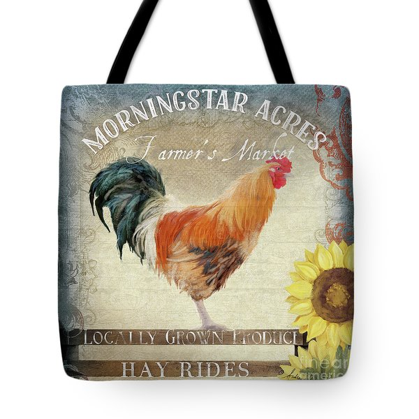 Tote Bag featuring the painting Farm Fresh Barnyard Rooster Morning Sunflower Rustic by Audrey Jeanne Roberts
