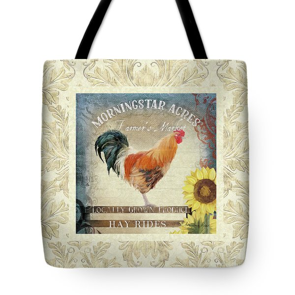 Tote Bag featuring the painting Farm Fresh Damask Barnyard Rooster Sunflower Square by Audrey Jeanne Roberts