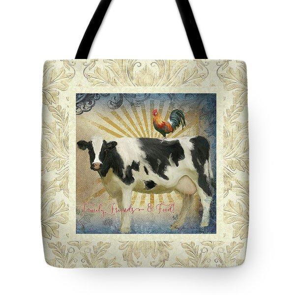 Tote Bag featuring the painting Farm Fresh Damask Milk Cow Red Rooster Sunburst Family N Friends by Audrey Jeanne Roberts
