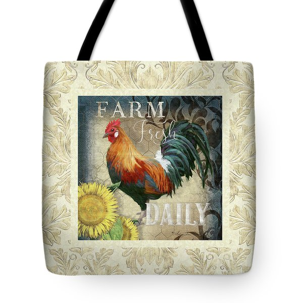 Tote Bag featuring the painting Farm Fresh Damask Red Rooster Sunflower by Audrey Jeanne Roberts