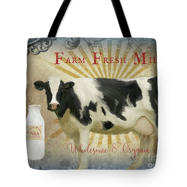 Tote Bag featuring the painting Farm Fresh Milk Vintage Style Typography Country Chic by Audrey Jeanne Roberts