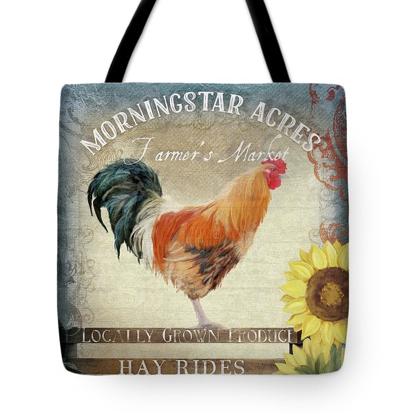 Tote Bag featuring the painting Farm Fresh Morning Rooster Sunflowers Farmhouse Country Chic by Audrey Jeanne Roberts