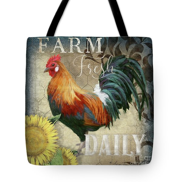 Farm Fresh Red Rooster Sunflower Rustic Country Tote Bag