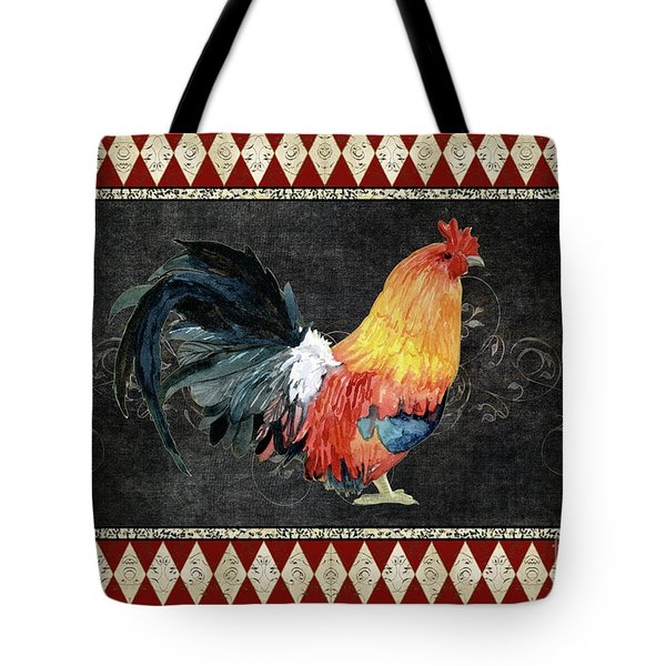 Tote Bag featuring the painting Farm Fresh Rooster 4 - On Chalkboard W Diamond Pattern Border by Audrey Jeanne Roberts