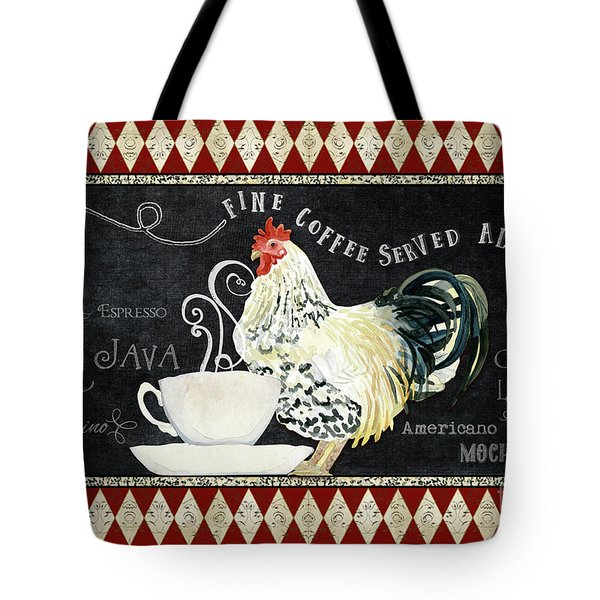 Tote Bag featuring the painting Farm Fresh Rooster 5 - Coffee Served Chalkboard Cappuccino Cafe Latte  by Audrey Jeanne Roberts
