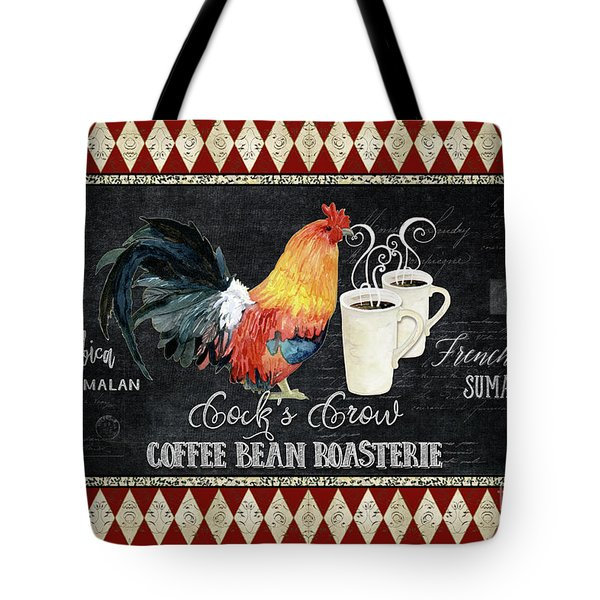 Tote Bag featuring the painting Farm Fresh Rooster 6 - Coffee Bean Roasterie French Roast by Audrey Jeanne Roberts