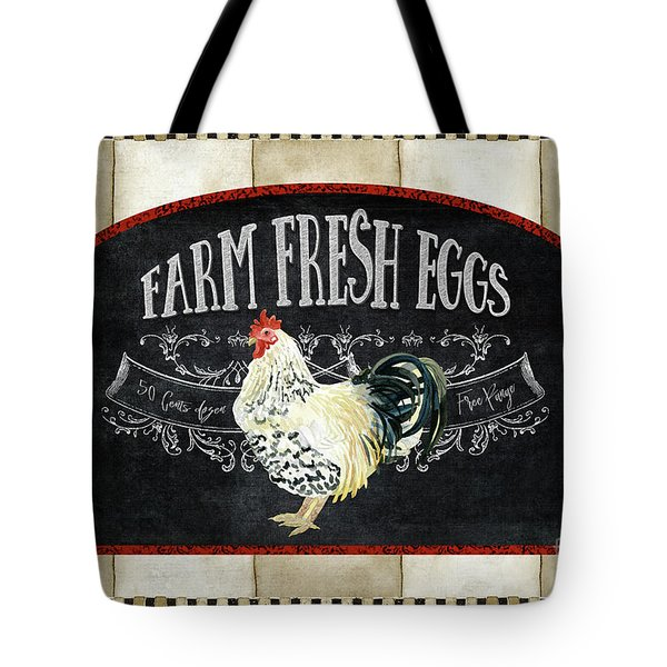 Tote Bag featuring the painting Farm Fresh Roosters 1 - Fresh Eggs Typography by Audrey Jeanne Roberts