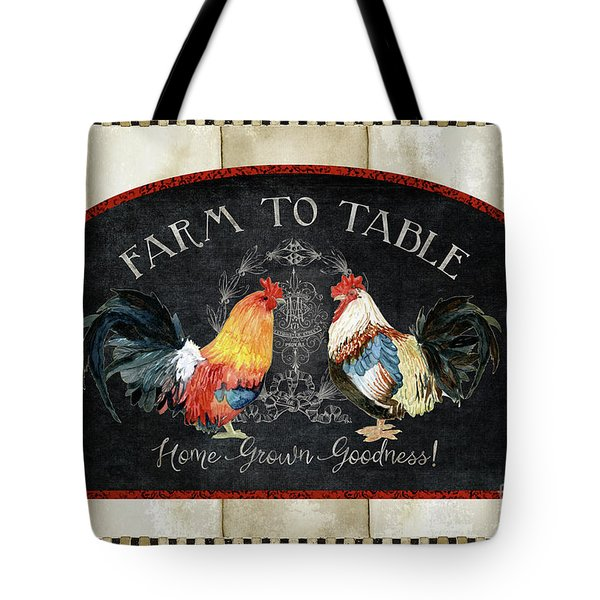 Tote Bag featuring the painting Farm Fresh Roosters 2 - Farm To Table Chalkboard by Audrey Jeanne Roberts