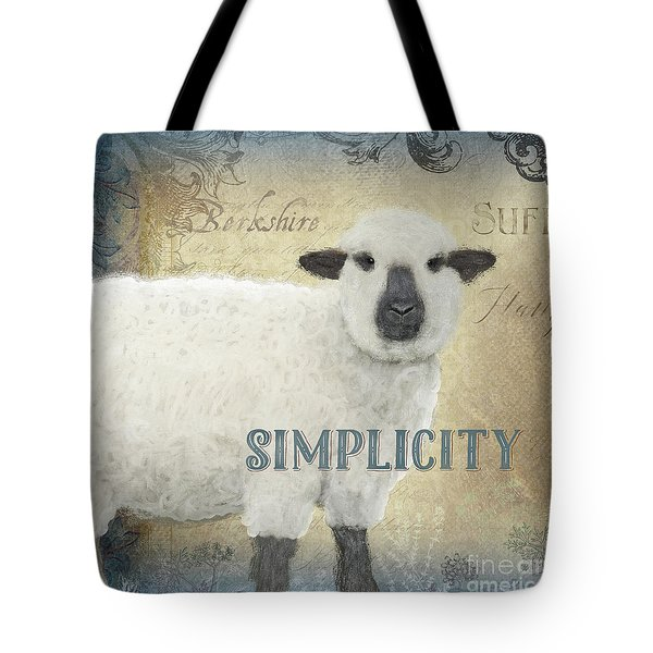 Tote Bag featuring the painting Farm Fresh Sheep Lamb Simplicity Square by Audrey Jeanne Roberts