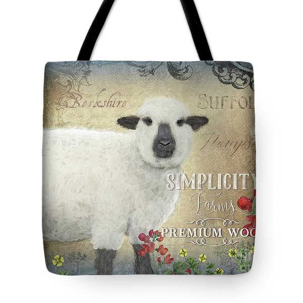 Tote Bag featuring the painting Farm Fresh Sheep Lamb Wool Farmhouse Chic  by Audrey Jeanne Roberts
