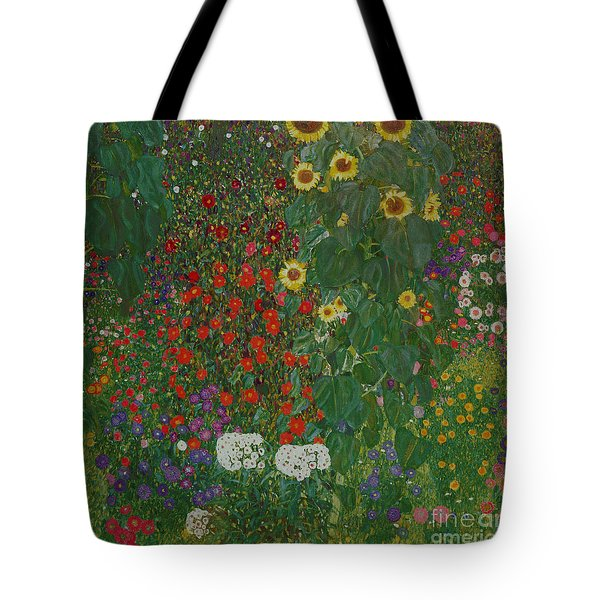 Farm Garden With Flowers Tote Bag by Gustav Klimt