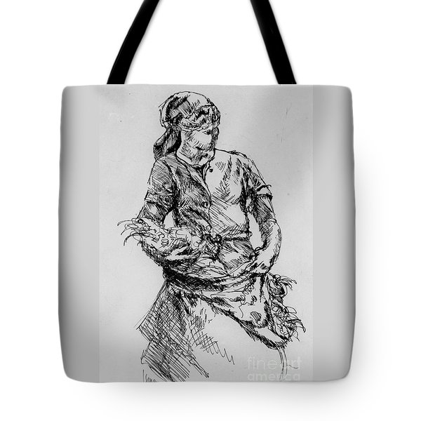 Tote Bag featuring the drawing Farm Girl by Rod Ismay