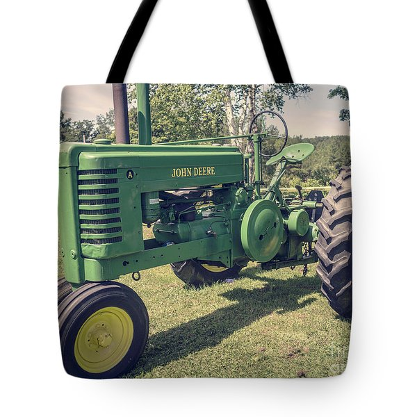 Farm Green Tractor Vintage Style Tote Bag