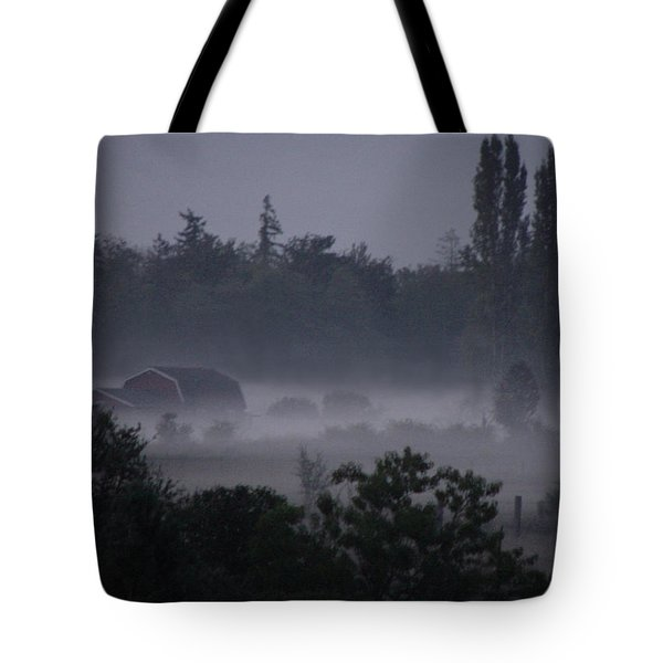 Farm In Fog Tote Bag