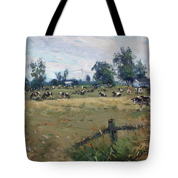 Farm In Terra Cotta On Tote Bag