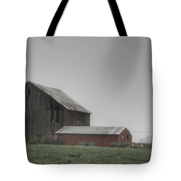 0011 - Farm In The Fog II Tote Bag