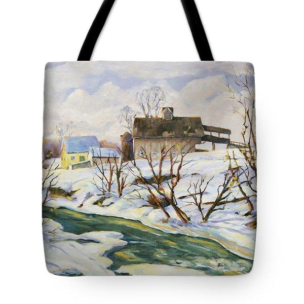 Farm In Winter Tote Bag by Richard T Pranke