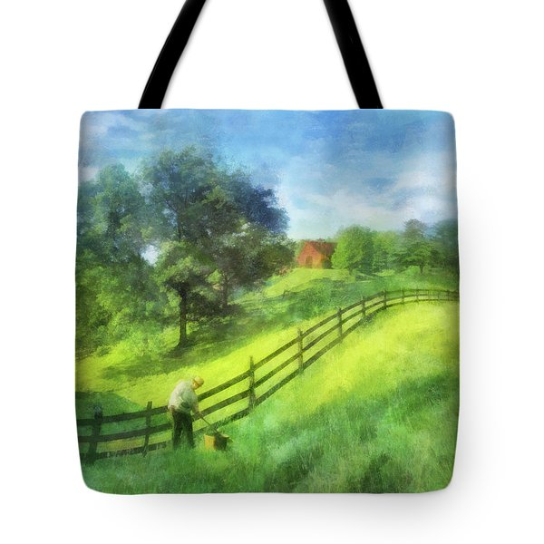 Farm On The Hill Tote Bag by Francesa Miller