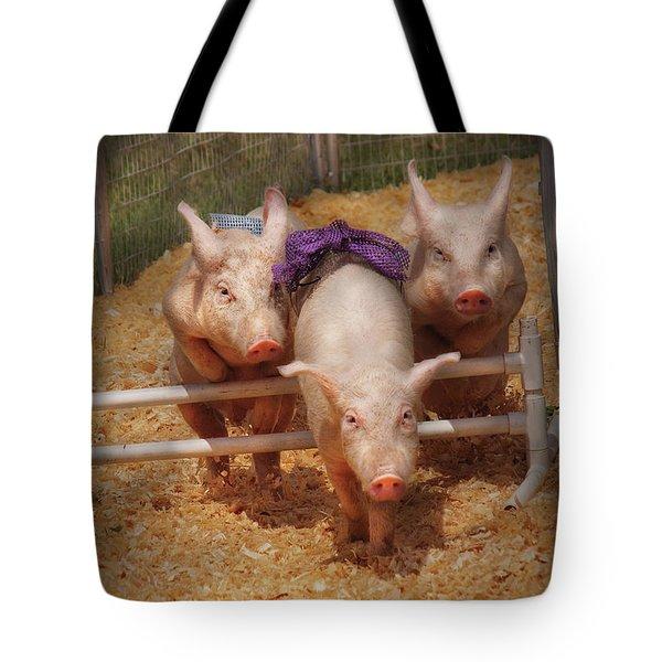 Farm - Pig - Getting Past Hurdles Tote Bag by Mike Savad