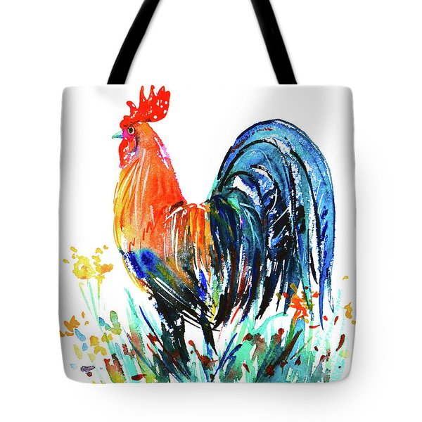 Tote Bag featuring the painting Farm Rooster by Zaira Dzhaubaeva