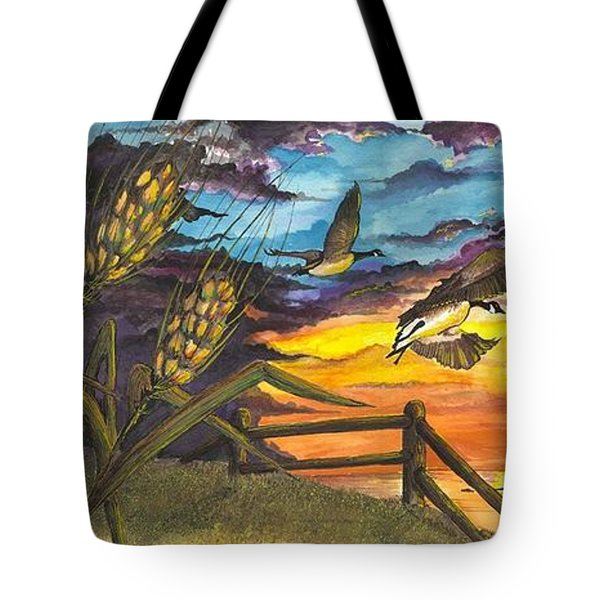 Tote Bag featuring the painting Farm Sunset by Darren Cannell