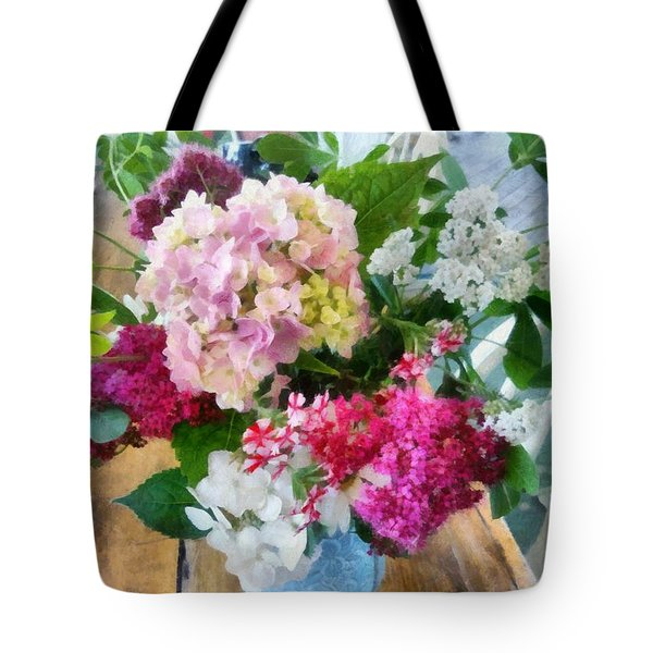 Farm Table With Vase And Flowers Tote Bag