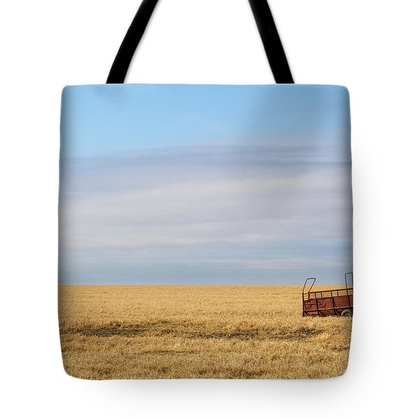 Farm Trailer In The Middle Of Field Tote Bag
