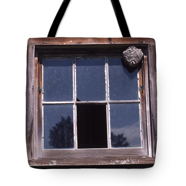 Farm Window With Paper Wasp Nest Tote Bag