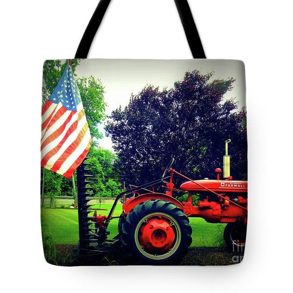 Farmall And Flag Tote Bag