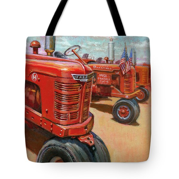 Tote Bag featuring the painting Farmall Tractor by Lesley Spanos