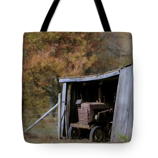 Tote Bag featuring the photograph Farmall Tucked Away by Benanne Stiens