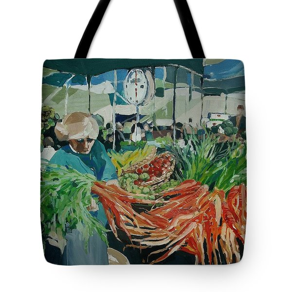 Tote Bag featuring the painting Farmers Market by Andrew Drozdowicz