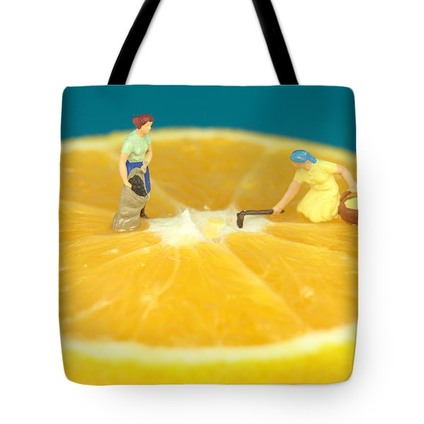 Farmers On Orange Tote Bag by Paul Ge