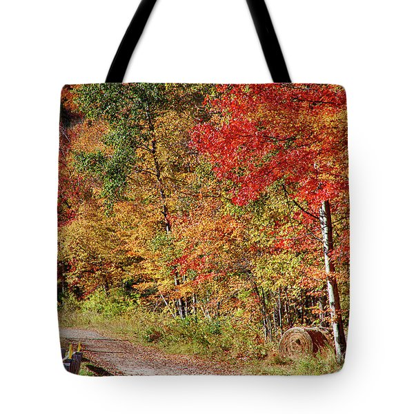 Tote Bag featuring the photograph Farmers Path Of Fall Colors by Jeff Folger