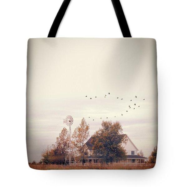 Tote Bag featuring the photograph Farmhouse And Windmill by Jill Battaglia