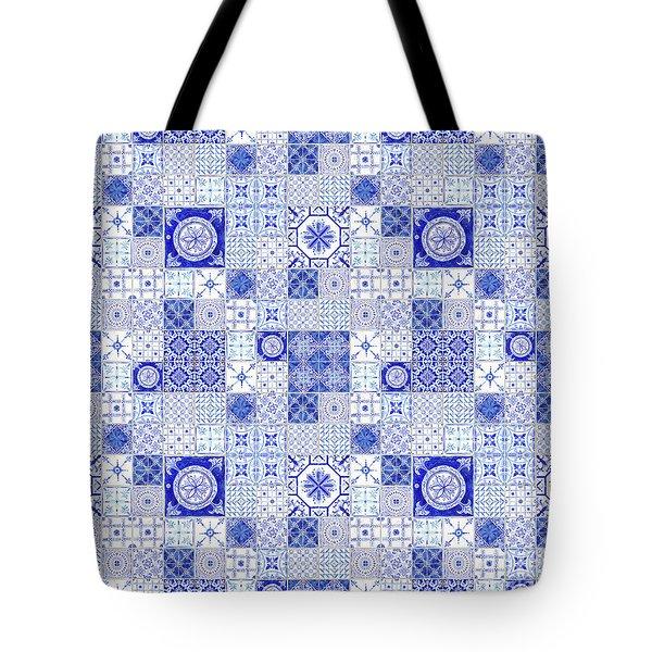 Farmhouse Blue And White Tile Pattern 1 - Patchwork Vintage Tile Tote Bag