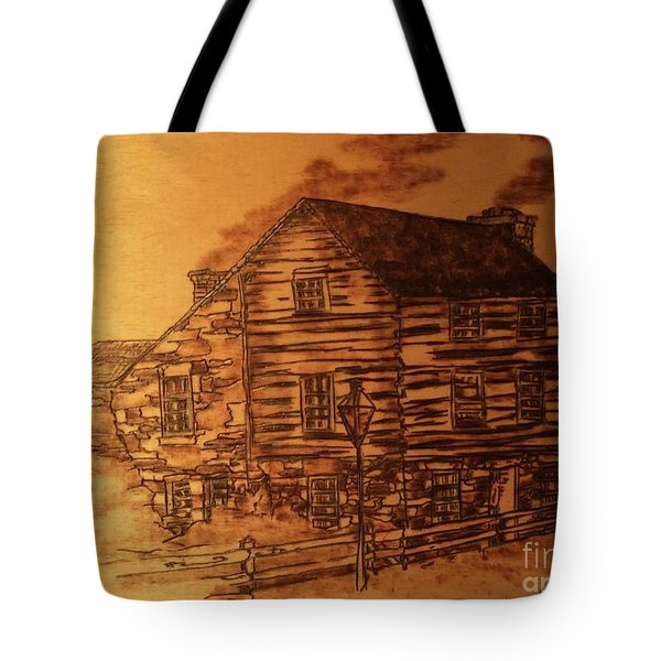 Tote Bag featuring the pyrography Farmhouse by Denise Tomasura