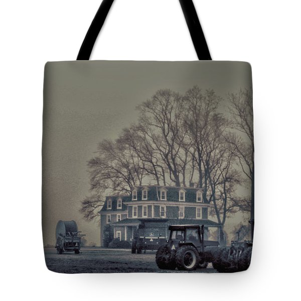 Farmhouse In Morning Fog Tote Bag by Sandy Moulder