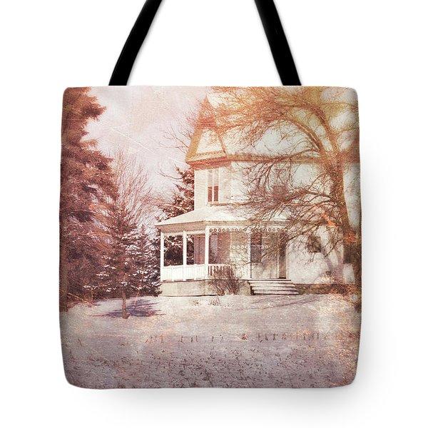 Tote Bag featuring the photograph Farmhouse In Snow by Jill Battaglia