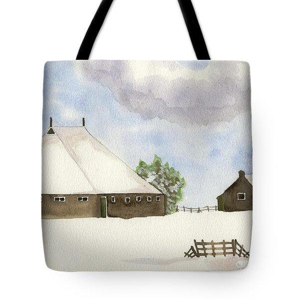 Tote Bag featuring the painting Farmhouse In The Snow by Annemeet Hasidi- van der Leij