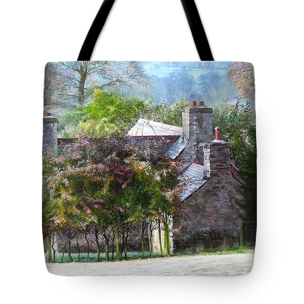 Tote Bag featuring the painting Farmhouse On A Cold Winter Morning. by Harry Robertson