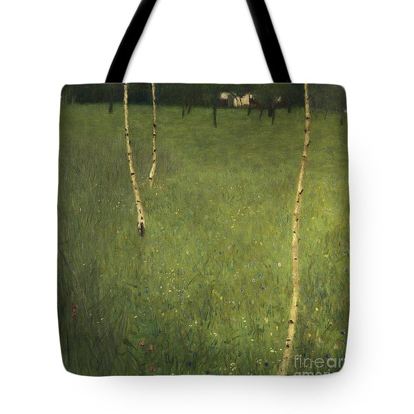 Farmhouse With Birch Trees Tote Bag