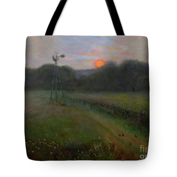 Tote Bag featuring the painting Farmland Peace by Nancy Lee Moran