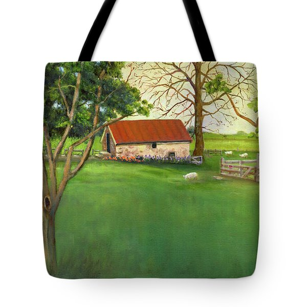 Tote Bag featuring the painting Farmland Scene by Marlene Book